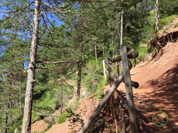 sentiero per scendere alla gola del canyon