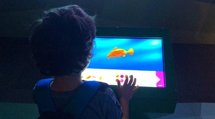 bambini in gita all'acquario di Genova
