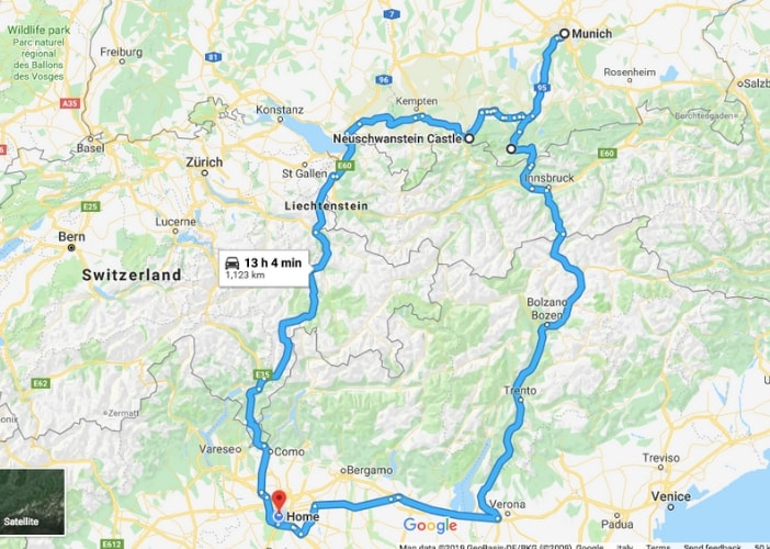 on the road in baviera con bambini itinerario ad anello da Milano